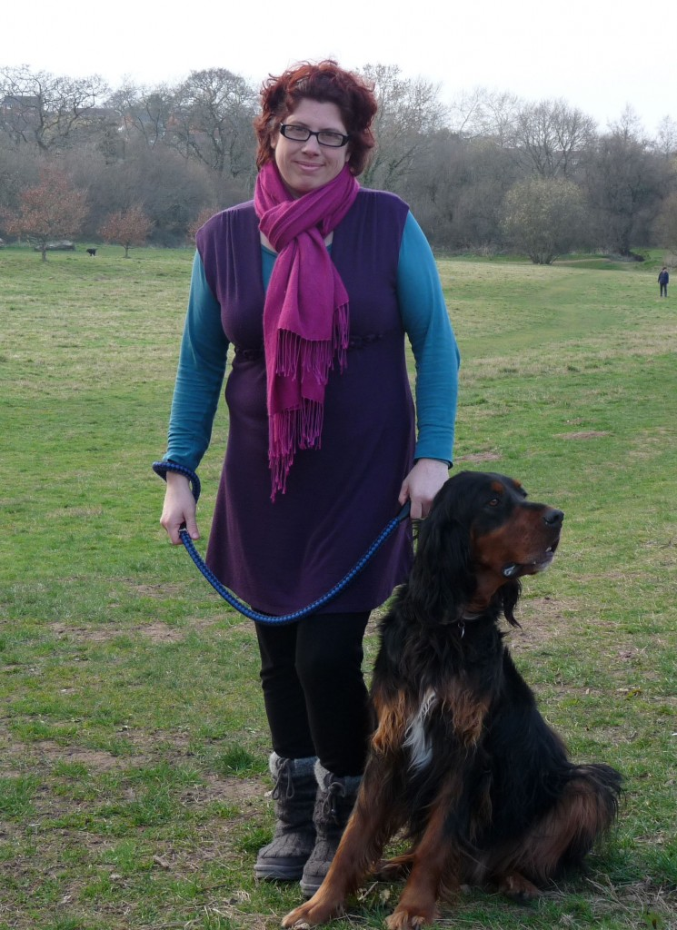 Sharon & Gordon Setter Chilli on the new 'village green' at Littletown in Honiton