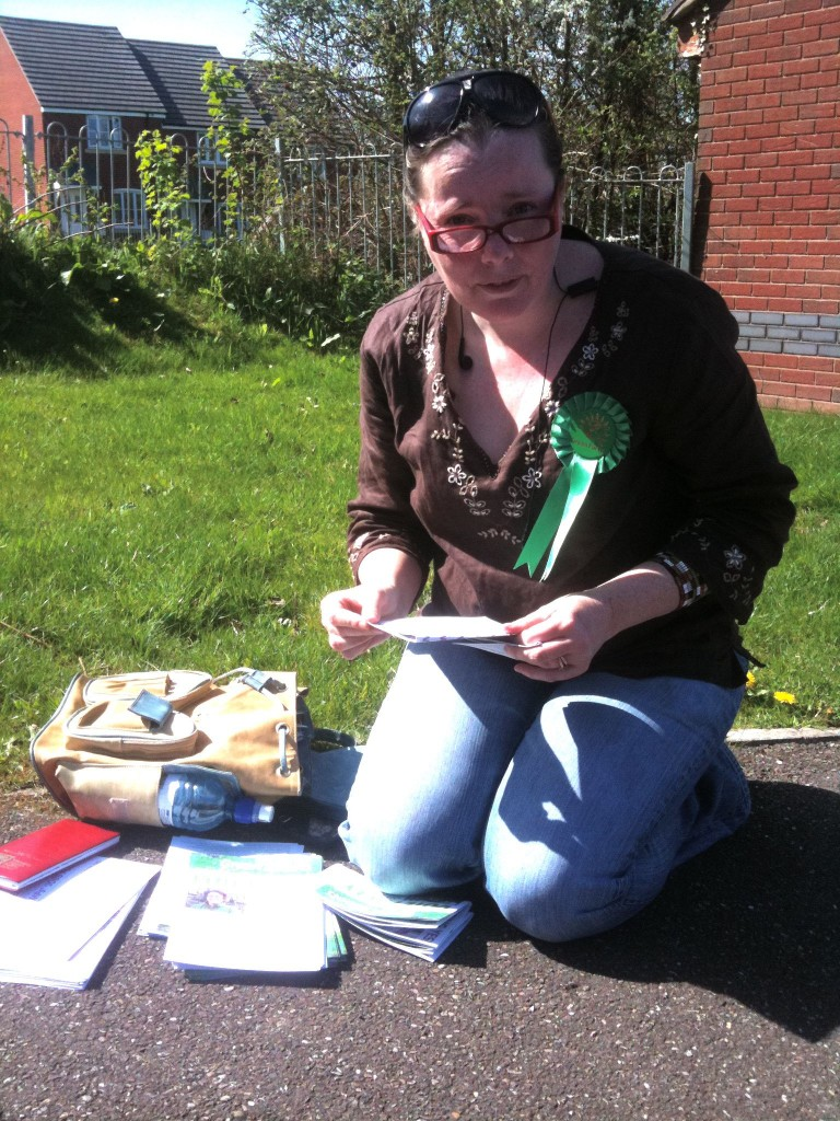Green supporter Penny came out to help us with leafleting