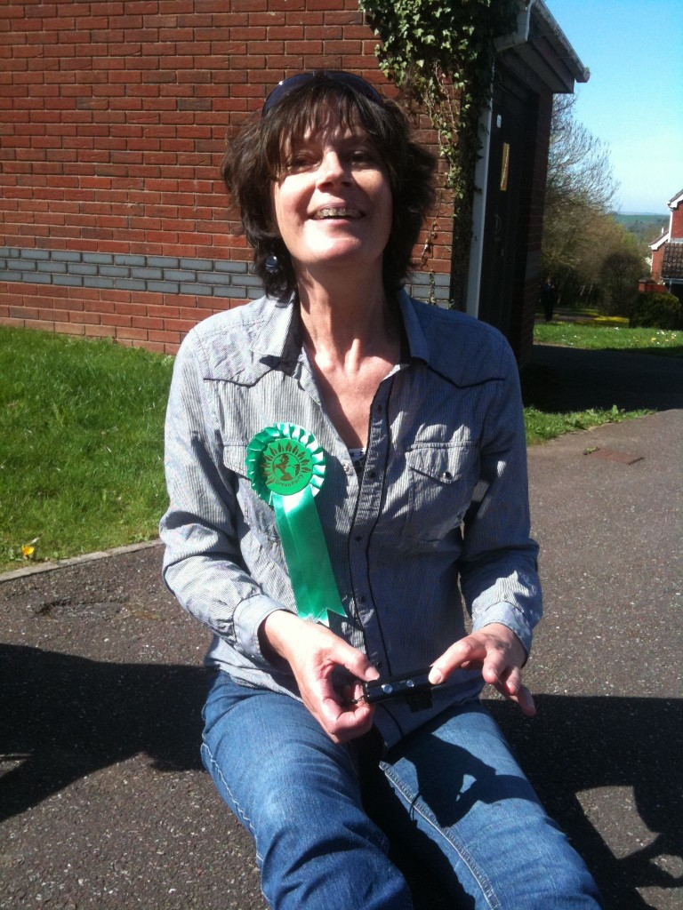 One of our speediest leafleters - Ana, having a well earned sit down