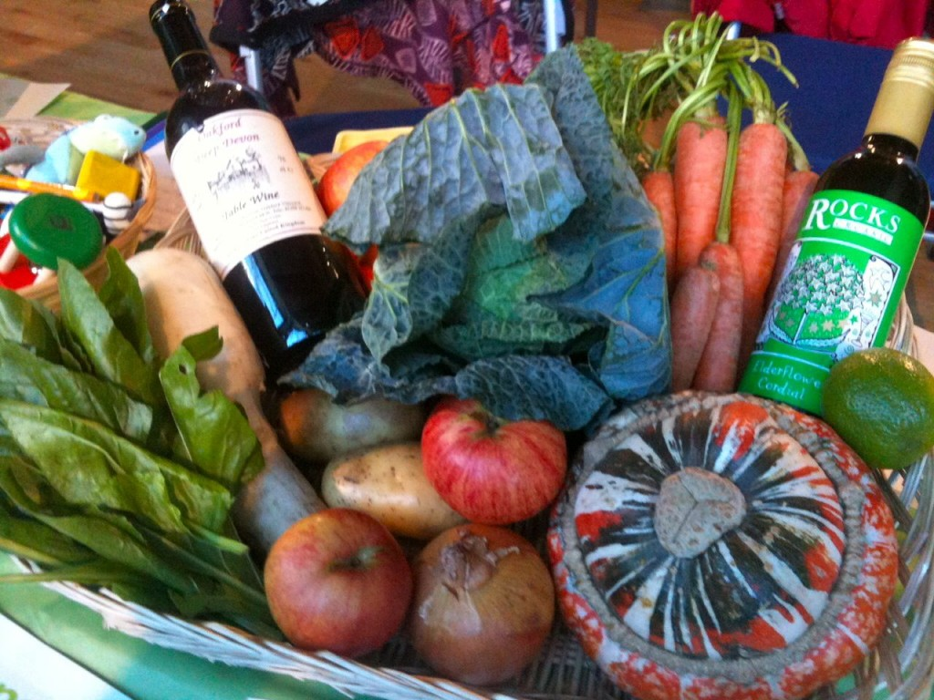 Green Party members donated fruit, veggies & wine for the hamper