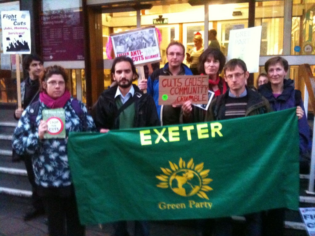 Members of East Devon Green Party with West Devon & Exeter Greens protesting against Devon County Council cutting £30 million from their annual budget