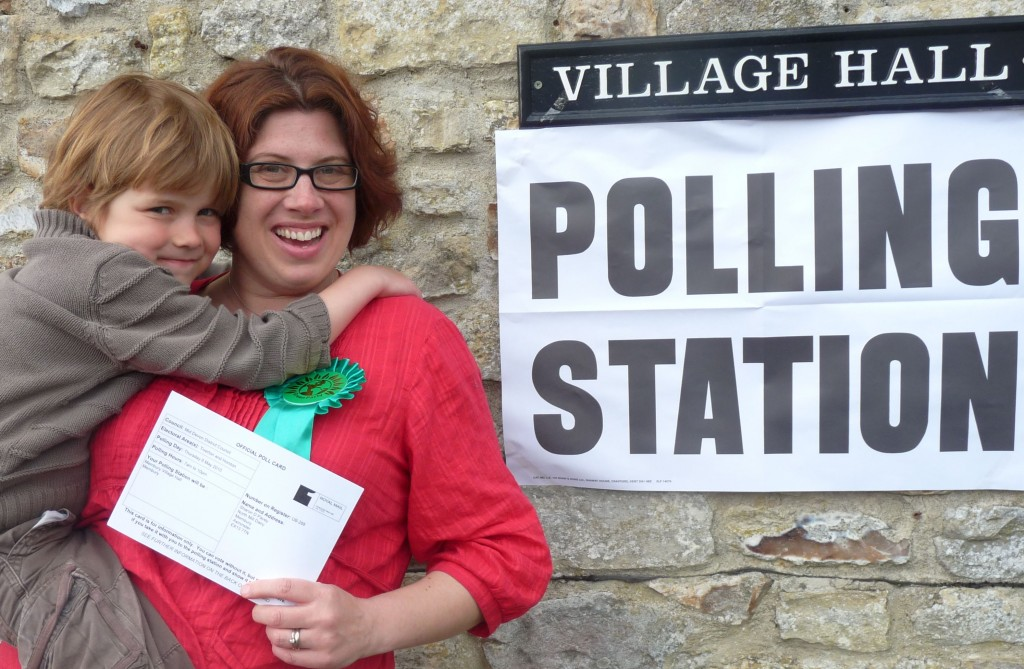 Me & Aleck voting GREEN at the General Election 2010 where I stood as a Green candidate for East Devon