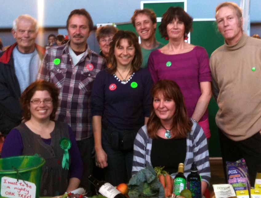 Members of East Devon Greens and the Torbay Greens together at the Exeter Animal Aid Christmas Without Cruelty Festival Dec 2011