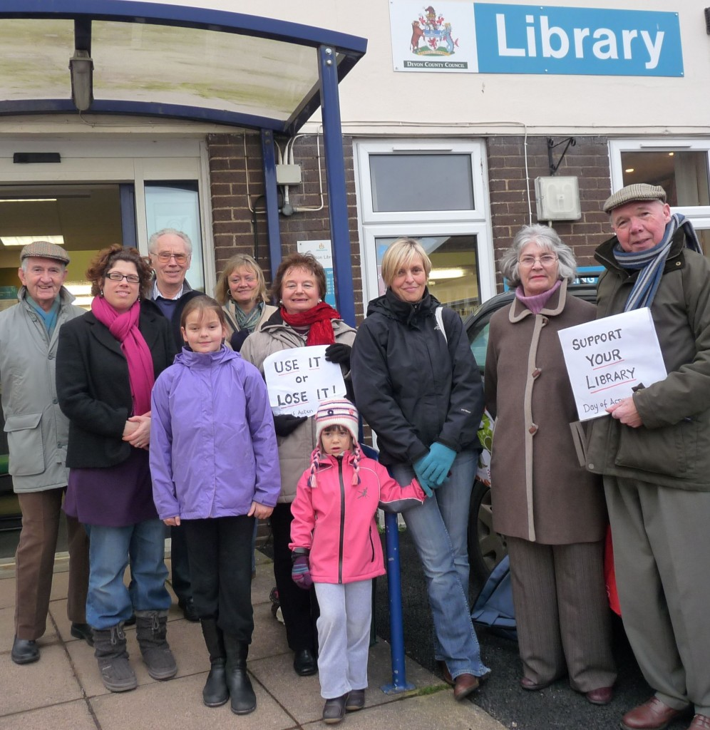 Here I am (left in red scarf) protesting about the proposed library closures last year with Honiton residents
