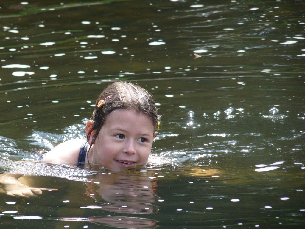 Natasha in the river swimming in east Devon last summer