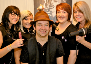 Scott of Sweet Black Angels pictured with staff from House of Hair who have donated Hairdressing for a year as the STAR prize of our 100 Prizes Draw - winners announced on Saturday 11th August 2012