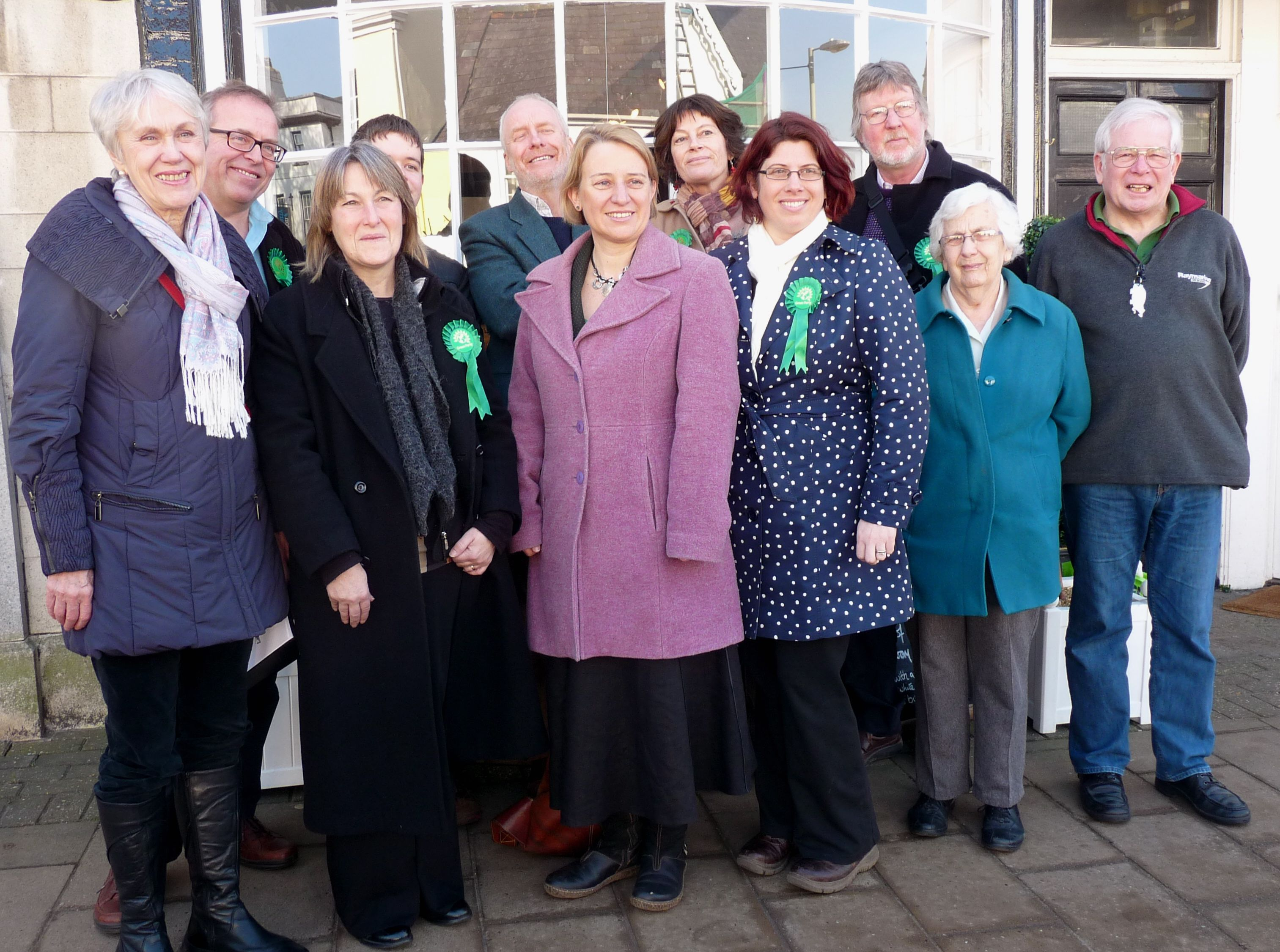 Some of our members with Leader of the Green Party Natalie Bennett last week in Honiton