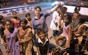 Sue with the street children The Hope Foundation helps